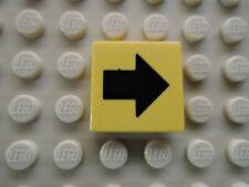 Lego 1 x Fliese 3068bp18 gelb  2x2 bedr. schwarzer Pfeil 4513 1349 6740