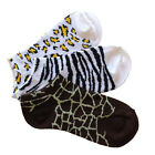 3 PAIRS ANIMAL PRINT ANKLE SOCKS ZEBRA CHEETAH GIRAFFE NO SHOW WOMENS GIRLS