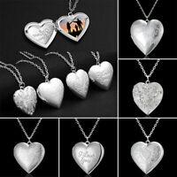 Fashion Photo Frames Locket Heart Pendant Necklace Jewelry Women Girlfriend Gift