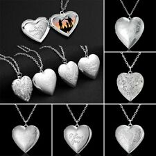 Fashion Photo Frames Locket Heart Pendant Necklace Jewelry Women Girlfriend Gift