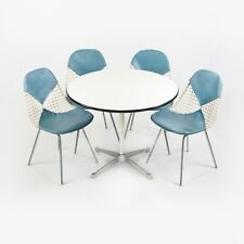 1957 Set of 4 Herman Miller Eames DKR-2 Wire Dining Chairs and Contract Table
