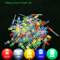 100pcs 5mm LED Diode Assorted Kit White Green Red Blue Yellow DIY Light Emitting