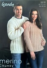 fc8d9bc2b0dd Ladies Mans Chunky Knit Aran Style Sweater Knitting Pattern 36 - 46 Inch