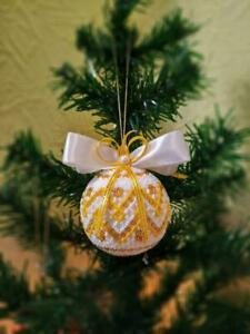 Beaded Christmas balls Ukrainian gift Ukraine decor ornaments Xmas Tree toy 2020