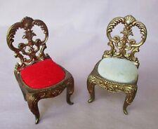 """2 Lenwile Ardalt Miniature 4"""" Metal Pin Cushion Dollhouse Chairs"""