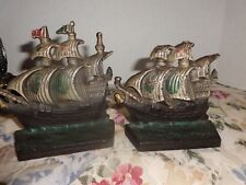 Vintage Set Cast Iron Tall Ship Boat Bookends 2.8lbs