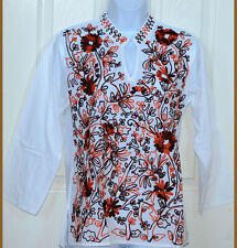 Embroidered White Cotton Tunic Top Kurti Long Sleeve Blouse from India