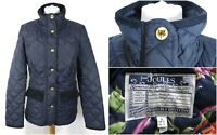 JOULES Moredale Lightweight Quilted Jacket UK Size 10 Navy Blue Cord Trims.