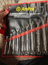 "AMPRO T41092 9 Piece Combination Wrench Set SAE 1/4""-3/4"""