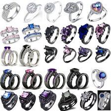 925 Silver Ladies 2 piece Asscher Cut Halo Wedding Engagement Ring Set