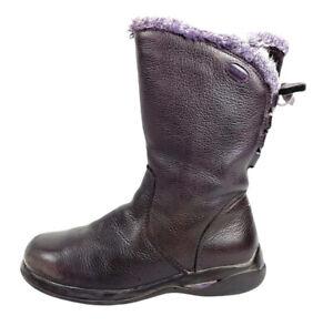 Clarks Little Girl's Gortex Waterproof Leather Boot Size 12 W Dark Purple
