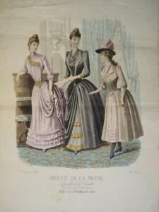BELLE GRAVURE DE MODE COULEUR FEMME COSTUME ENFANT COIFFE ROBE DECORATION 1888 a