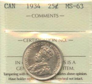 1934 Twenty-Five Cents - ICCS MS-63 Cert#XNE732