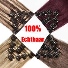 8 Haarteil Clip In Echthaar Extensions 100% Echte Human Hair Haarverlängerung de