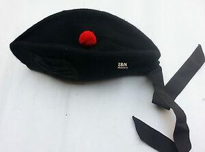 Glengarry Classic Scottish Hat Plain Black - Pure Acrylic Wool