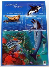 WWF FRANCE MARINE LIFE STAMPS SHEET SEA LIFE OCEAN WHALE DOLPHIN TURTLE SEAL