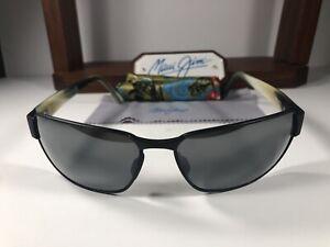 Maui Jim Black Coral MJ 249-2M Matte Black Sunglasses Grey Polarized Lens +Pouch