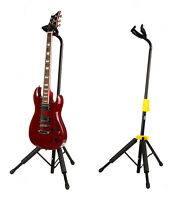 Self Locking Guitar Stand by Gleam automatic release pro stage gig black yellow