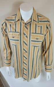 Vintage H BAR C Ranchwear Western Striped Pearl Snap Shirt Medium