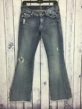 7 For All Mankind Womens Denim Jeans Size 27 Hemmed Destroyed Flare A17-3
