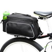 New Cycling Black ROSWHEEL Bicycle Seat Bag Rear Rack Pack Trunk Pannier Handbag