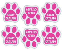 Mini Cat Paw Magnets (Set of 6) - Pink Crazy Cat Lady - Car, Refrigerator, More
