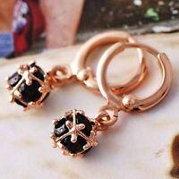 womens black cubic zirconia ball dangle earrings Rose Gold Filled free shipping