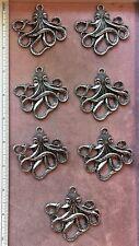 "SEVEN (7) Large detailed OCTOPUS PENDANTS - 2-1/4"" - Silver-Plate"