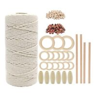 Natural Macrame Cord Kit 100M 3mm Cotton Rope with Wooden s and Wooden Bead J8C1