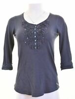 HOLLISTER Womens Top 3/4 Sleeve Size 10 Small Navy Blue Cotton  IU12