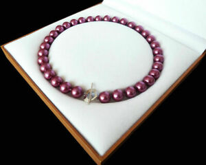 Natural 8mm 10mm 12mm Rose Red South Sea Shell Pearl Necklace 18'' AAA