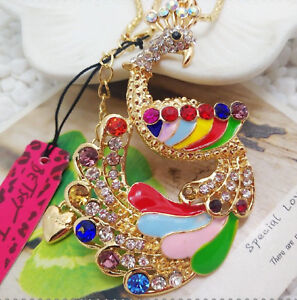 Betsey Johnson Rainbow Peacock Crystal Gold Pendant Chain Necklace Free Gift Bag
