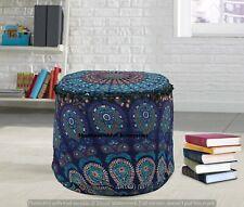 Indian Poufs Cover Bohemian Round Footstools Decorative Ottomans 22'' Pouffe