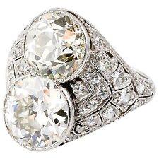 Art Deco Diamond Platinum Two Stone Cocktail Ring