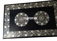 6'x3' Marble Black Dining Table Top Mother of Pearl Mosaic Inlay Furniture Decor