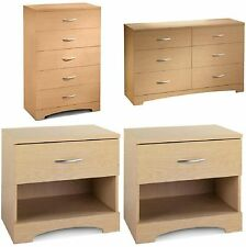 4-Piece Natural Dresser Chest Nightstand Bedroom Collection Home Living Storage