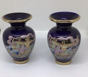 Vintage Pair Of Greek Handmade 24k Gilded Vases Blue and Gold