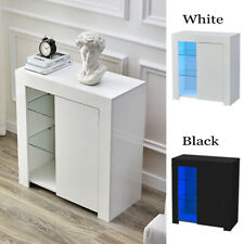 High Gloss Sideboard Buffets Cabinet Storage Cupboard Unit RGB LED Living Room