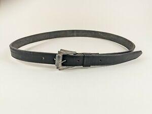 Slim Black Leather Belt W31-35 Inches