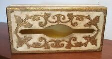 vtg Italian Florentine baroque gold gilt Wood Covered Tissue Box Tole Painted