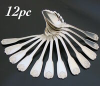 EARLY 19C ANTIQUE FRENCH STERLING SILVER SOUP DINNER SPOON 12PC SET 950 SHELL