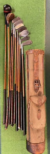 Antique hickory wood shaft Golf Clubs and Vintage Large Stovepipe Golf Bag