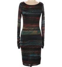 Reiss 1971 Dress Bodycon Black Rainbow Size Small Ruched Long Sleeves Stretchy