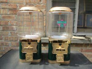 Vtg VENDWORX Double Head Lot 25¢ Gumball Candy Prize Vending Machine Green   (d)