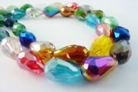 80 pce Rainbow Spectrum Faceted Grey Blue Oval Crystal Glass Beads 6mm x 4mm