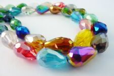 Faceted Tear Drop Electroplate Crystal Glass Beads 15x10mm Mix Colour 26 pce