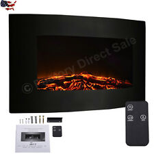 1X Large 1500W Adjustable Electric Wall Mount Fireplace Heater Remote Control