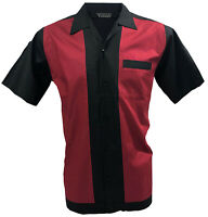 Rockabilly Fashions Retro Vintage Bowling Men's Shirt 1950 1960  Black Red S-3XL