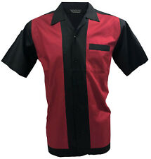 Rockabilly Fashions Retro Vintage Bowling Men's Shirt 1950 1960  Black Red