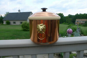 VTG COPPERCRAFT GUILD COPPER ICE BUCKET WITH BRASS LIONS HEADS